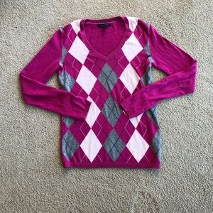 Pink Tommy Hilfiger argyle sweater